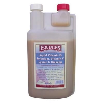 EQUIMINS Vitamin E, Selenium, Witamin C, Lysine, & Ginseng Liquid